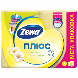 Бумага туалетная ZEWA Plus, 2-х слойная, спайка 12шт.х23м, аромат ромашки, 144089, ш/к 07799