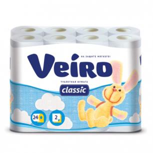 Бумага туалетная VEIRO Classic (Вейро), 2-х сл., спайка 24шт.х17м, белая, 5с224, ш/к 92982