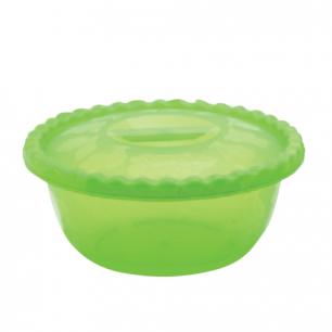 Миска-салатник 3л с крышкой IDEA, круглая, диаметр 25 см, высота 10,5 см, цвет салатовый, М 1316