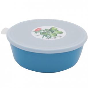 """Миска-салатник 1л герметич. крышка IDEA, """"Прованс"""", круглая, (в7*диам17см), цвет бирюзовый, М 1381"""