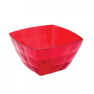 """Миска-салатник 0,75л IDEA, """"Кристал Квадро"""", (в8*ш13,5*г13,5см), цвет красный, прозрачный, М 1355"""