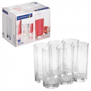"""Набор посуды стаканы для сока, виски LUMINARC """"OCTIME"""", 6 шт, 330 мл, высокие, стекло, H9811"""
