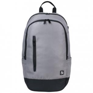 Рюкзак BRAUBERG B-HB1605 ст.класс/студ, мальч., Серый с черной молнией, 50*31*20 cм, 225355