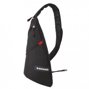 Рюкзак WENGER (Швейцария), универсальный, черный, с одним плеч.ремнем, 25*15*45см, 7л, 18302130