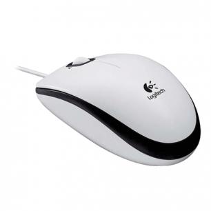 Мышь проводная оптическая LOGITECH M100, USB, 2кнопки+ 1колесо-кнопка, белый/черный, (910-001605)