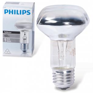 Лампа накаливания PHILIPS Spot R63 E27 30D, 60Вт, зерк., колба d=63мм, цоколь d=27мм, угол 30°, 043665