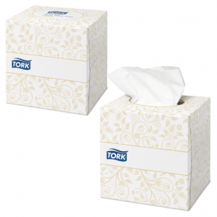 Салфетки косметич. TORK (F1)  Premium, 2-сл, 100шт. в картонном боксе, ультрамягк., бел. (601742)  140278