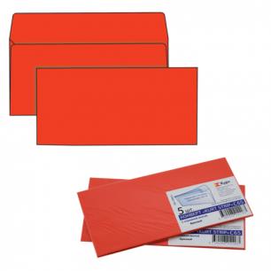 Конверты С65, КОМПЛЕКТ 5шт., отрывная полоса STRIP, красные, упак. с европодвесом, 114х229мм