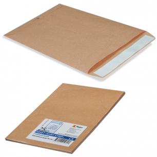 Конверт-пакет плоский, КОМПЛЕКТ 25шт, 250х353мм, отр.полоса, крафт-бумага, КОРИЧ, на140л, 380090.25