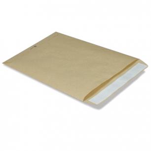 Конверт-пакет плоский (250х353мм)  из крафт бумаги с отр.полосой, на 140л