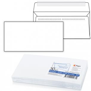 Конверт Е65, КОМПЛЕКТ 50шт, отрывная полоса STRIP, белый, Security, внутр.запечатка, 110х220мм, 121182.50