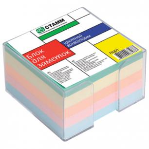 Блок для записей СТАММ в подставке прозрачной, куб 8*8*5 цветной, ПЦ01