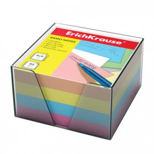 Блок для записей ERICH KRAUSE в подставке прозрачной, куб 9*9*5, цветной, 5141