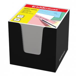 Блок для записей ERICH KRAUSE в подставке картонной черной, куб 9*9*9, белый, 37006