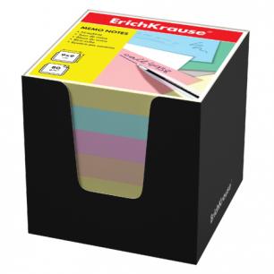 Блок для записей ERICH KRAUSE в подставке картонной черной, куб 9*9*9, цветной, 37011