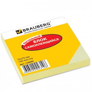 Блок самоклеящ.  BRAUBERG 76*76 мм 100л., желтый, 122690