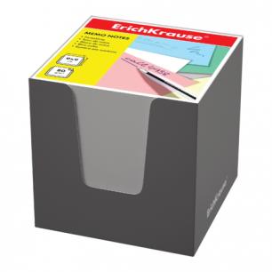 Блок для записей ERICH KRAUSE в подставке картонной серой, куб 9*9*9, белый, 37007