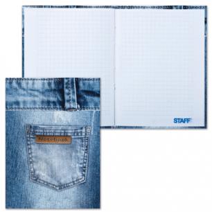 Блокнот Notebook STAFF, А6, 110*147мм, 80л. тв. лам. обложка, джинса, 120952