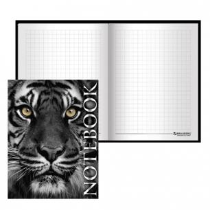 Блокнот BRAUBERG А6 110*147мм, 80л. твердая ламинир. обложка, выб. лак, клетка, тигровый, 123244