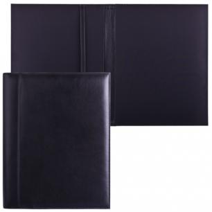 Папка адресная из натуральной кожи без надписи, 320х250х10мм, черная, 7-40