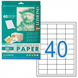 Этикетка самоклеящаяся LOMOND на листе формата А4,40 этик., размер 48,5х25,4мм, белая, 50л. (2100195)