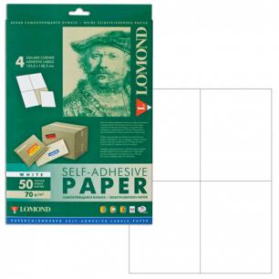 Этикетка самоклеящаяся LOMOND на листе формата А4, 4 этик., размер 105*148,5 мм, белая, 50л. (2100025)