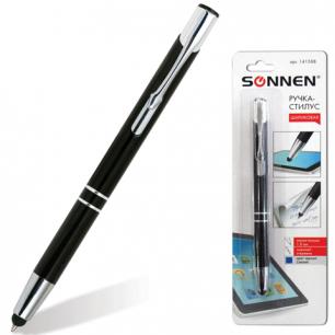 Ручка-стилус SONNEN для смартфонов/планшетов, корпус черный, серебр детали, 1мм, блистер, 141588,син