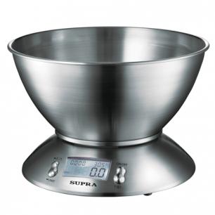 Весы кухонные SUPRA BSS-4095, чаша, макс 5кг, элект диспл, таймер, тарокомпенсация, сталь