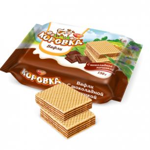 "Вафли РОТ ФРОНТ ""Коровка"", шоколад, 150г, пакет, РФ10364"