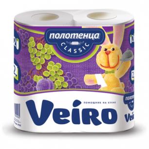 Полотенце бумажное VEIRO (Вейро), 2-х слойное, спайка 2шт.х12,5м, 5п22, ш/к 90995