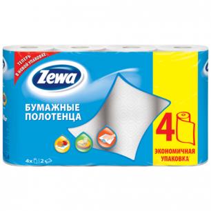 Полотенце бумажное ZEWA 2-х слойное, спайка 4шт.х15м, белое, 144099, ш/к 24303