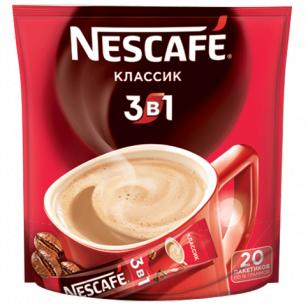 """Кофе растворимый NESCAFE """"3 в 1 Классик"""", 20 пакетиков по 16г (упаковка 320г)"""