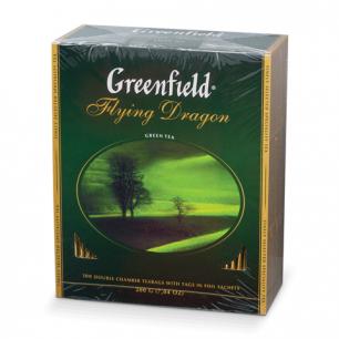 """Чай GREENFIELD """"Flying Dragon"""", зеленый, 100 пакетиков в конвертах по 2г, 0585"""