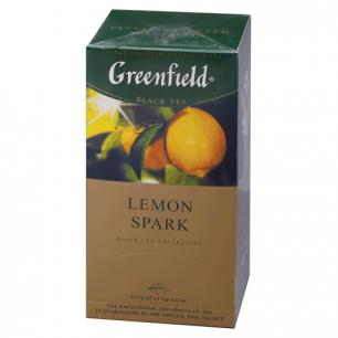 """Чай GREENFIELD """"Lemon Spark"""", черный, со вкусом лимона, 25 пакетиков в конвертах по 2г, 0711"""