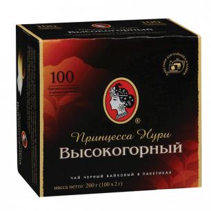 """Чай ПРИНЦЕССА НУРИ """"Высокогорный"""", черный, 100 пакетков по 2г, ш/к 02014"""