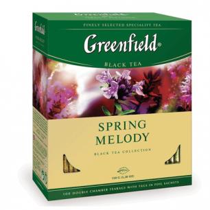 """Чай GREENFIELD """"Spring Melody"""" (Мелодия весны), черный с чабрецом, 100 пак. в конв. по 1,5г, ш/к10655"""