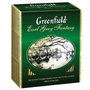 """Чай GREENFIELD """"Earl Grey Fantasy"""", черный с бергамотом, 100 пакетиков в конвертах по 2г, ш/к 05848"""