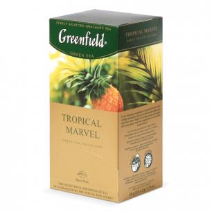 """Чай GREENFIELD """"Tropical Marvel"""" (Чудо тропиков), зеленый с ананасом, 25 пакетиков по 2г, ш/к 06548"""