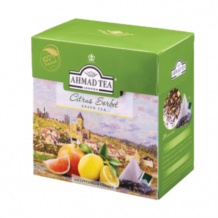 """Чай AHMAD (Ахмад)  """"Citrus Sorbet"""", зеленый, вкус цитрусового сорбета, 20 пирамидок по 1,8г, 1239"""