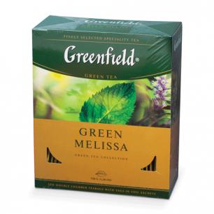 """Чай GREENFIELD """"Green Melissa"""" зеленый с мятой, 100 пакетиков в конвертах по 1,5г, 0879"""