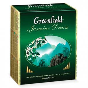 """Чай GREENFIELD """"Jasmine Dream"""" (Жасминовый сон), зел. с жасмином, 100 пак. в конв. по 2г, ш/к05862"""