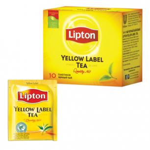 """Чай LIPTON (Липтон)  """"Yellow Label"""", черный, 10 пакетиков с ярлычками по 2г, ш/к 06756"""