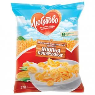 Хлопья ЛЮБЯТОВО кукурузные, 370г, пакет, 12975
