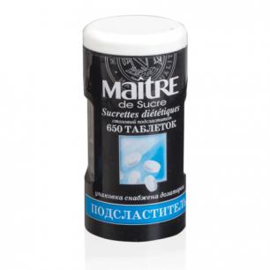 Заменитель сахара MAITRE de Sucre (МЭТР), 650 таблеток, пластиковая баночка с дозатором, ш/к 91498