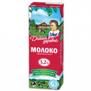 Молоко ДОМИК В ДЕРЕВНЕ жирность 3,2%, картонная упаковка, 950 г, 04018