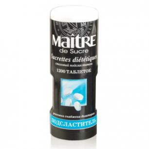Заменитель сахара MAITRE de Sucre (МЭТР), 1200 таблеток, пластиковая баночка с дозатором, ш/к 91474