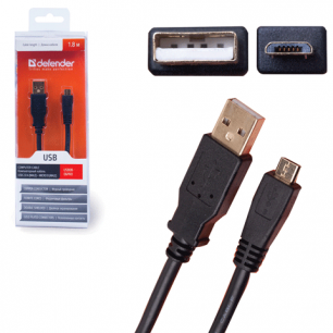 Кабель USB 2.0 AM-MicroBM DEFENDER USB08-06PRO, 1.8м, блистер 87442