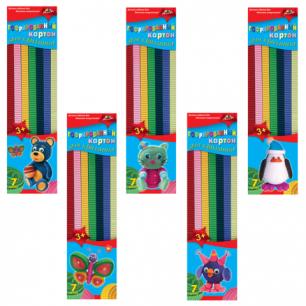Цветной картон для квиллинга АППЛИКА ГОФРИРОВАННЫЙ, 7 цв, 42 полоски (дл.295мм, шир.10мм), С1912