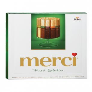 Конфеты шоколадные MERCI (Мерси), ассорти из шоколада с миндалем, 250г, картонная коробка, ш/к 17956