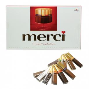 Конфеты шоколадные MERCI (Мерси), ассорти, 400г, картонная коробка, ш/к 00217